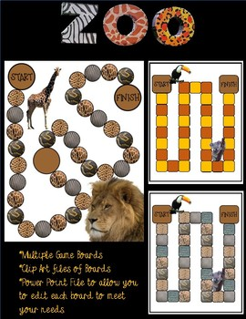 Zoo Game Boards Clip Art & Editable Power Point