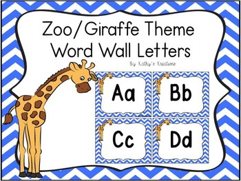Zoo/Giraffe Theme Word Wall Letters