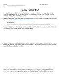 Zoo Field Trip Handout for Math, Science, History, and English