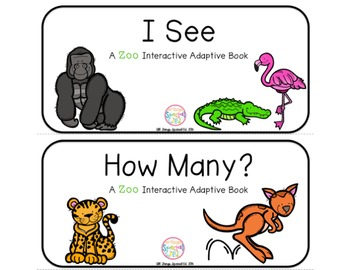 """Zoo Interactive Adaptive books - set of 2 (""""I See and """"How Many?)"""