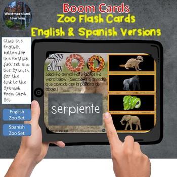 Zoo Interactive Flash Cards Boom Card Set English & Spanish