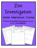 Zoo Investigation Animal Adaptations Virtual Field Trip