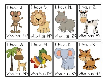 Zoo Jungle Animal I have. Who has? Upper and Lower Case Alphabet Game Bundle