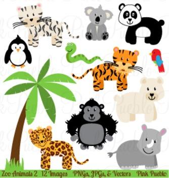 Zoo Jungle Animals Clipart Clip Art