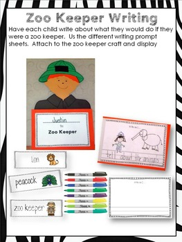 Zoo Keeper Craft and Writing Activity
