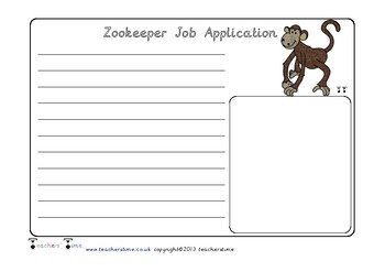 Zoo Keeper Job Application Form
