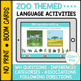 Zoo Language Activities BOOM Cards™️ Speech Therapy Distan
