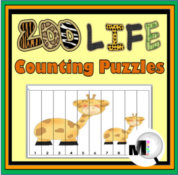 Zoo Animals Counting Puzzles - Zoo Theme - Numbers 1-120