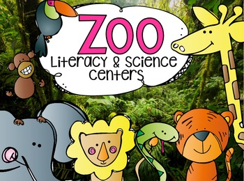 Zoo Literacy Centers for Kindergarten Bundle