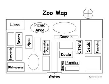 zoo map cardinal direction map skills by second success tpt. Black Bedroom Furniture Sets. Home Design Ideas