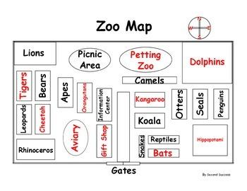 Zoo Map, Cardinal Direction Map Skills