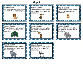 Zoo Map Task Cards