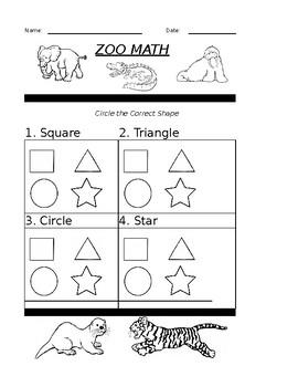 Zoo Math Basic Shapes