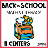 Back to School Math & Literacy Centers for Pre-K and Kindergarten
