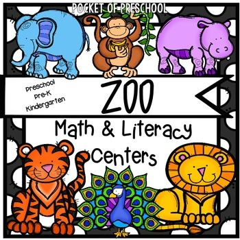 Zoo Math and Literacy Centers for Preschool, Pre-K, and Ki
