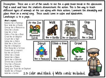 Zoo Movement Cards / Brain Break