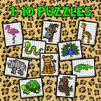 Number Sequencing Puzzles - Zoo Animals