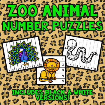 Zoo Number Sequencing Puzzles - Set of 10