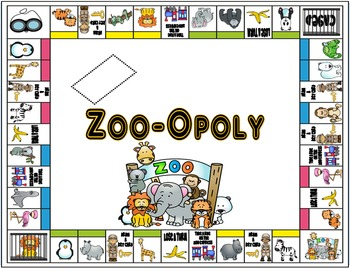 Zoo-Opoly Board Game and Task Card Templates