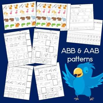 Zoo Patterns Math Center with AB, ABC, AAB & ABB patterns