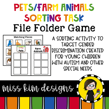 Farm Animals and Pets Sorting File Folder Game for Special Education