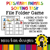 Folder Game: Farm Animal and Pet Sorting for Special Education