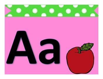 Alphabet Posters Classroom Decor Pink & Green Polka-Dot