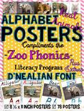 Zoo Phonics Alphabet Posters - REAL ANIMAL PICS {D'Nealian Font}