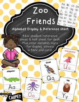 Zoo Friends Alphabet & Student Reference Sheets