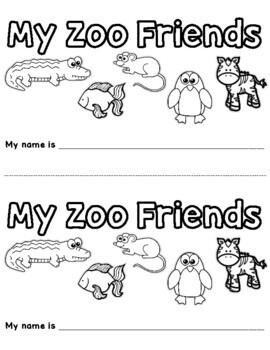 "Zoo Phonics Emergent Reader ""My Zoo Friends"""