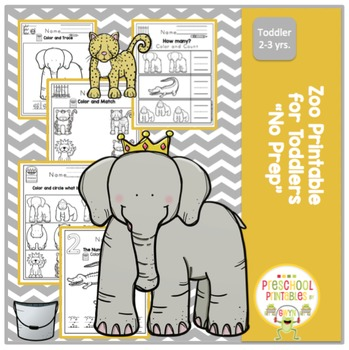 """Zoo Printable for Toddlers """"No Prep"""""""