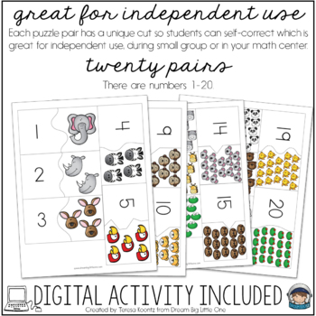 Zoo Puzzle - Self Correcting (Counting & Number Recognition 1-20)