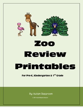Zoo Review Printables for Pre-K, Kindergarten and 1st Grade