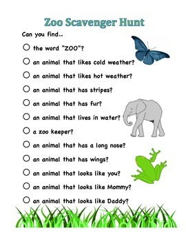 Trip To The Zoo Scavenger Hunt Worksheets & Teaching ...
