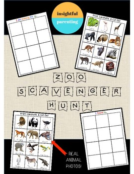 Zoo Scavenger Hunt Activity with Real Photos