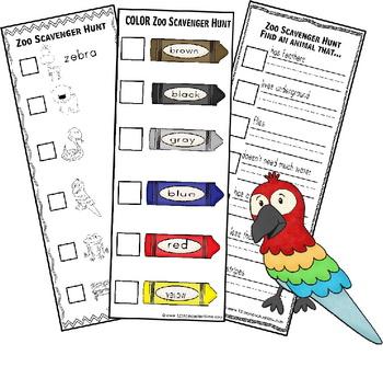 Zoo Scavenger Hunt (Fieldtrip Fun for Preschool - 6th Grade)