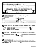 Zoo Scavenger Hunt for Upper Elementary and Middle School