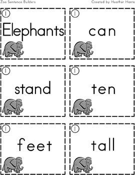 Zoo Sentence Builders