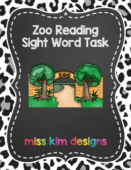 Zoo Sight Word File Folder Game for Early Childhood Specia