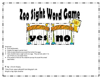 Zoo Sight Word Game - Pre-Primer