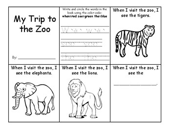 Zoo Sight Word Mini book