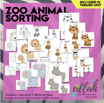 Zoo Size Sorting Cards