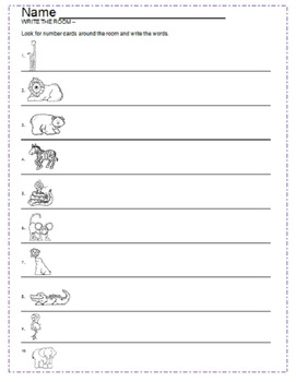 Zoo Stamp A Word & Write the Room Centers