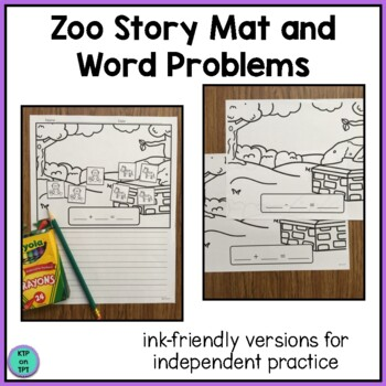 Zoo Story Mat and Word Problems (simple addition and subtraction)