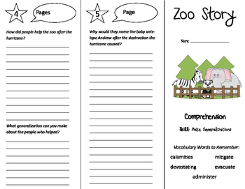 Zoo Story Trifold - Treasures 6th Grade Unit 2 Week 3