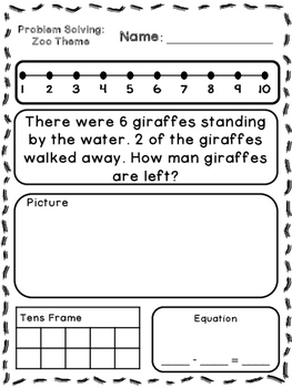 Zoo Theme Addition & Subtraction Word Problems (Kindergarten/First)