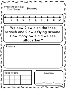 Zoo Theme Addition & Subtraction Word Problems (Kindergart