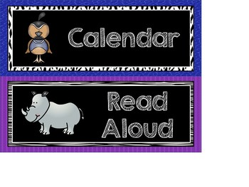 Zoo Theme Daily Schedule Cards - Editable