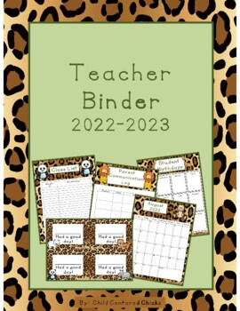 Teacher Organizational Binder 2017-2018 Zoo Theme - Leopard Print