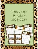 Teacher Organizational Binder 2018-2019 Zoo Theme - Leopard Print